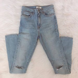 High waist skinny jeans with knee distressing